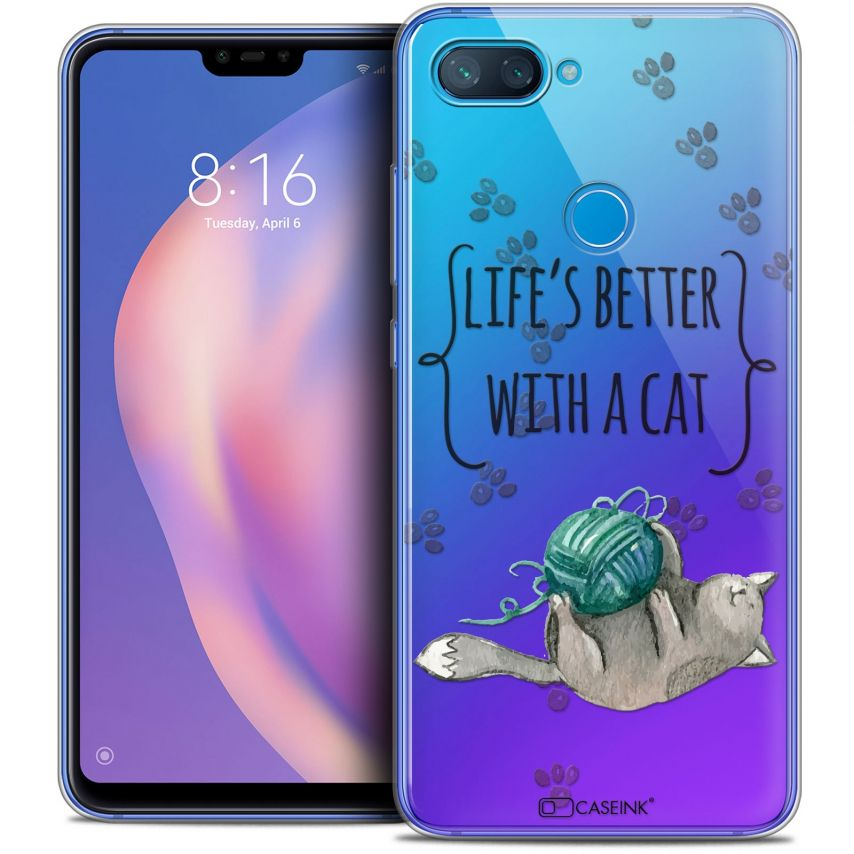 """Coque Crystal Gel Xiaomi Mi 8 LITE (6.26"""") Extra Fine Quote - Life's Better With a Cat"""