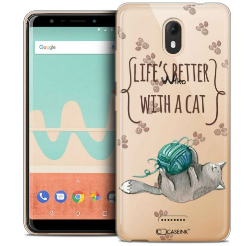 """Coque Crystal Gel Wiko View GO (5.7"""") Extra Fine Quote - Life's Better With a Cat"""