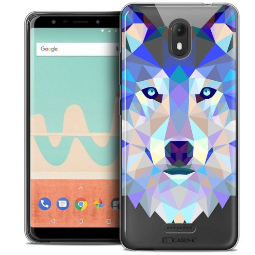 """Coque Crystal Gel Wiko View GO (5.7"""") Extra Fine Polygon Animals - Loup"""