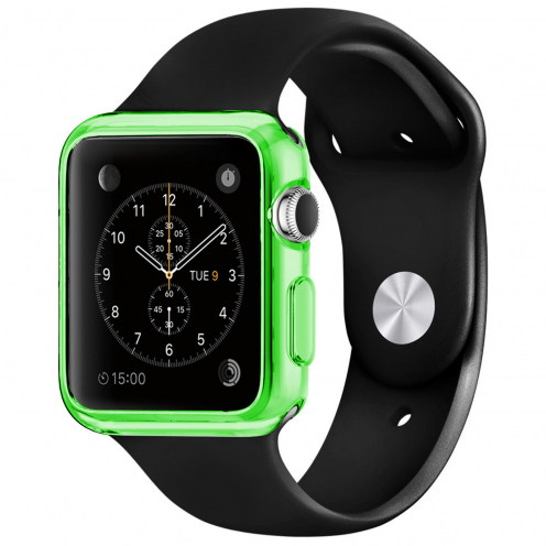 Coque Clear Frame Extra Fine Verte pour Apple Watch 42mm