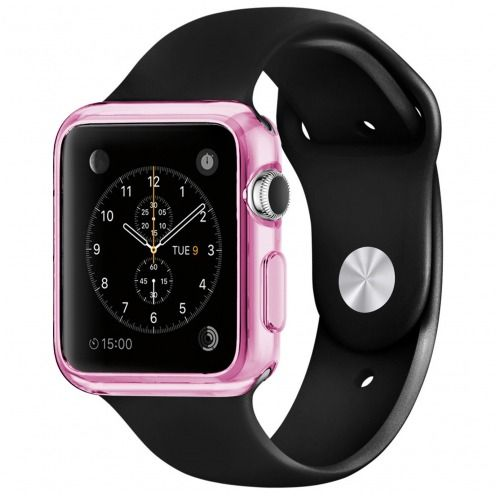 Photo réelle de Coque Clear Frame Extra Fine Rose pour Apple Watch 38mm