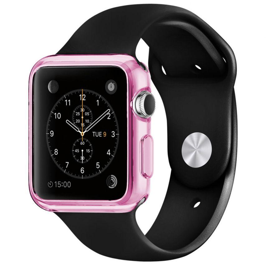 Photo réelle de Coque Clear Frame Extra Fine Rose pour Apple Watch 38mm