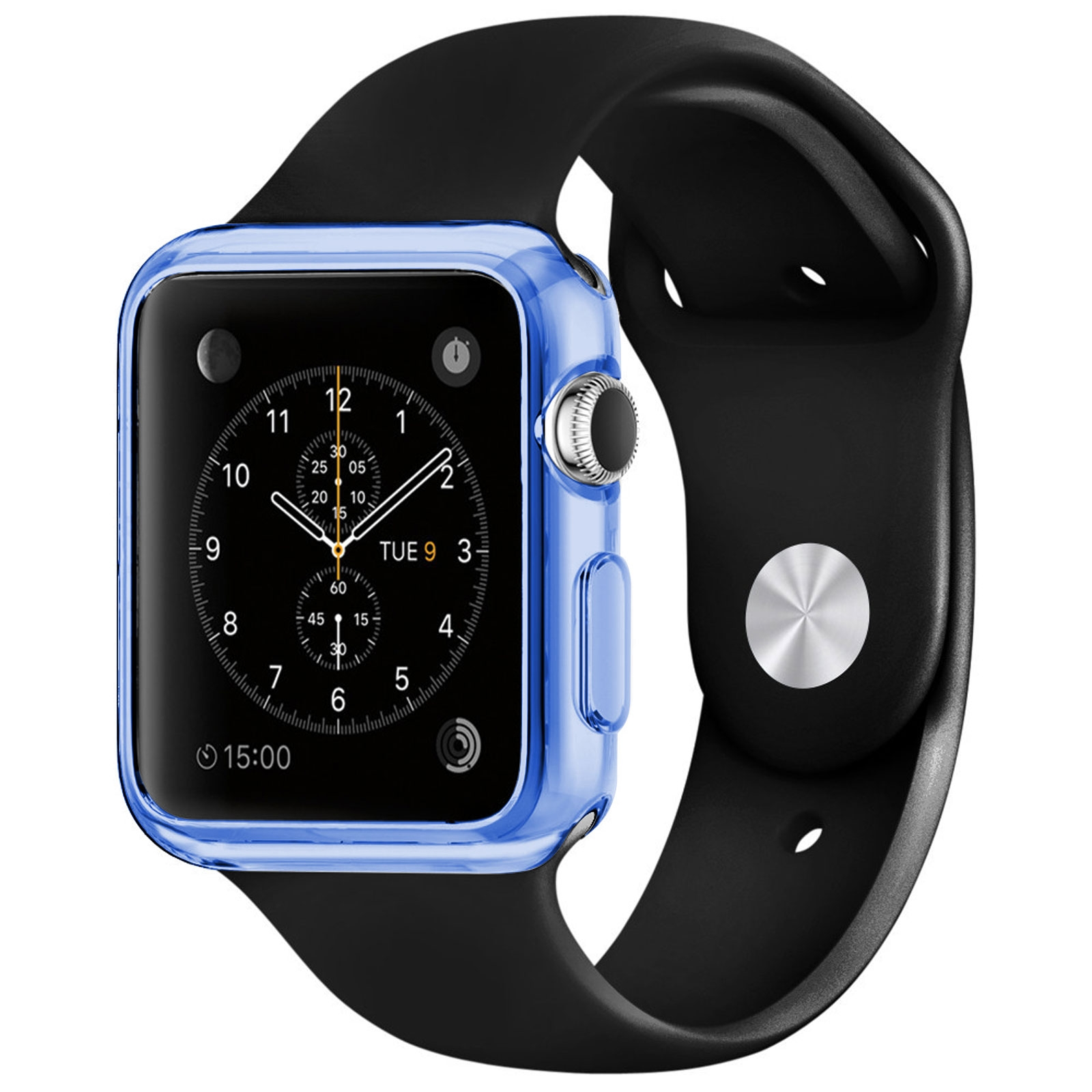 coque clear frame extra fine bleue pour apple watch 38mm. Black Bedroom Furniture Sets. Home Design Ideas