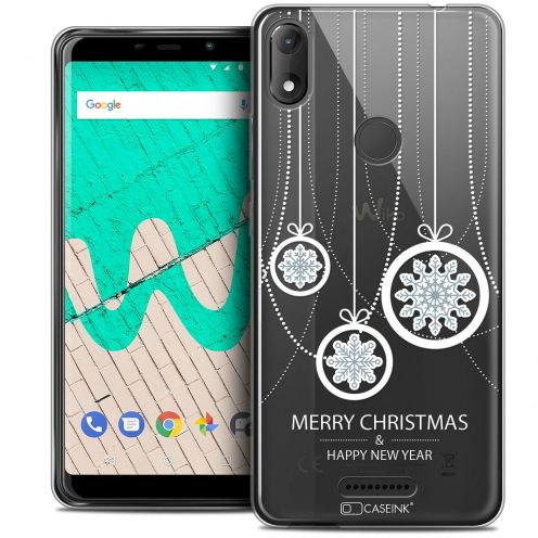 """Coque Crystal Gel Wiko View MAX (5.7"""") Extra Fine Noël 2017 - Christmas Balls"""