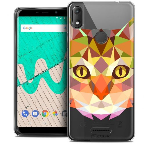 """Coque Crystal Gel Wiko View MAX (5.7"""") Extra Fine Polygon Animals - Chat"""