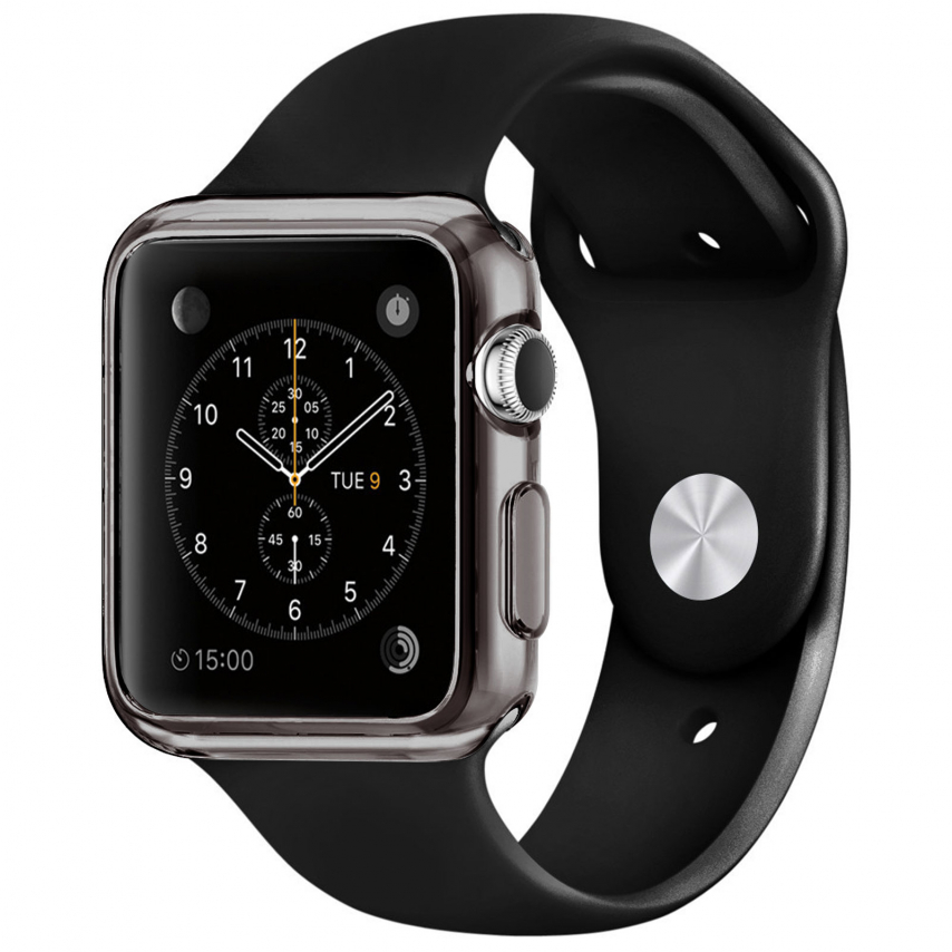 coque clear frame extra fine fum e pour apple watch 38mm. Black Bedroom Furniture Sets. Home Design Ideas
