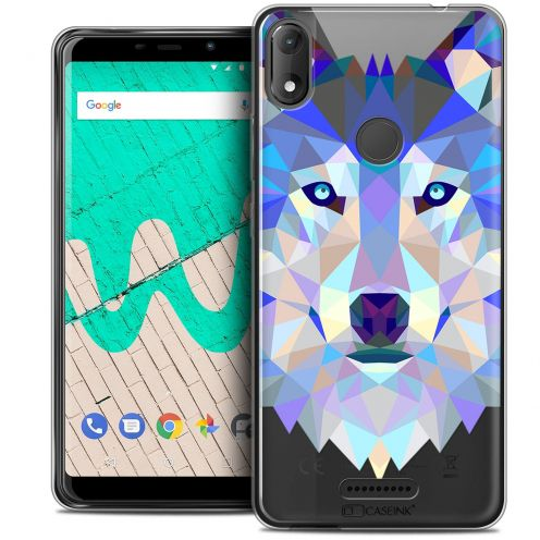 "Coque Crystal Gel Wiko View MAX (5.7"") Extra Fine Polygon Animals - Loup"