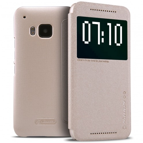 Vue complémentaire de Coque Etui HTC One M9 Nillkin® Sparkle Slim Folio - Smart Sleep - Or