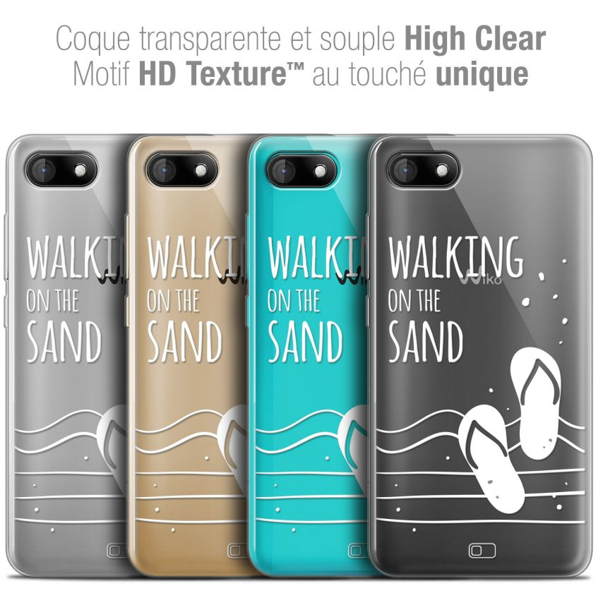 """Coque Crystal Gel Wiko Sunny 3 (5"""") Extra Fine Summer - Walking on the Sand"""