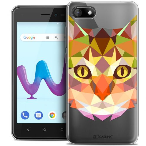 "Coque Crystal Gel Wiko Sunny 3 (5"") Extra Fine Polygon Animals - Chat"