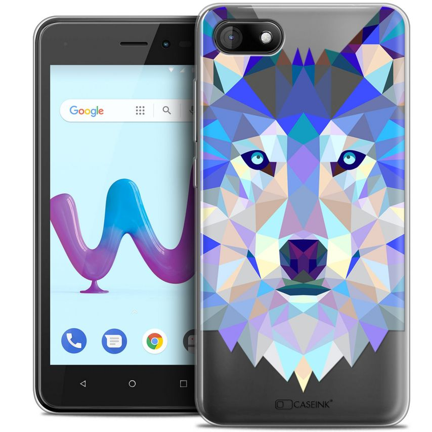 "Coque Crystal Gel Wiko Sunny 3 (5"") Extra Fine Polygon Animals - Loup"