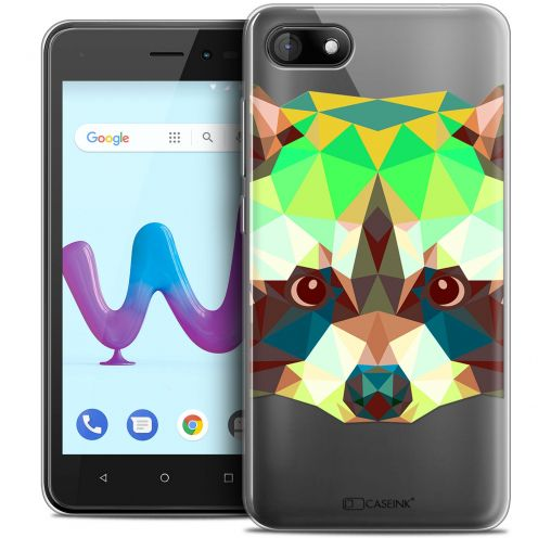 "Coque Crystal Gel Wiko Sunny 3 (5"") Extra Fine Polygon Animals - Raton Laveur"