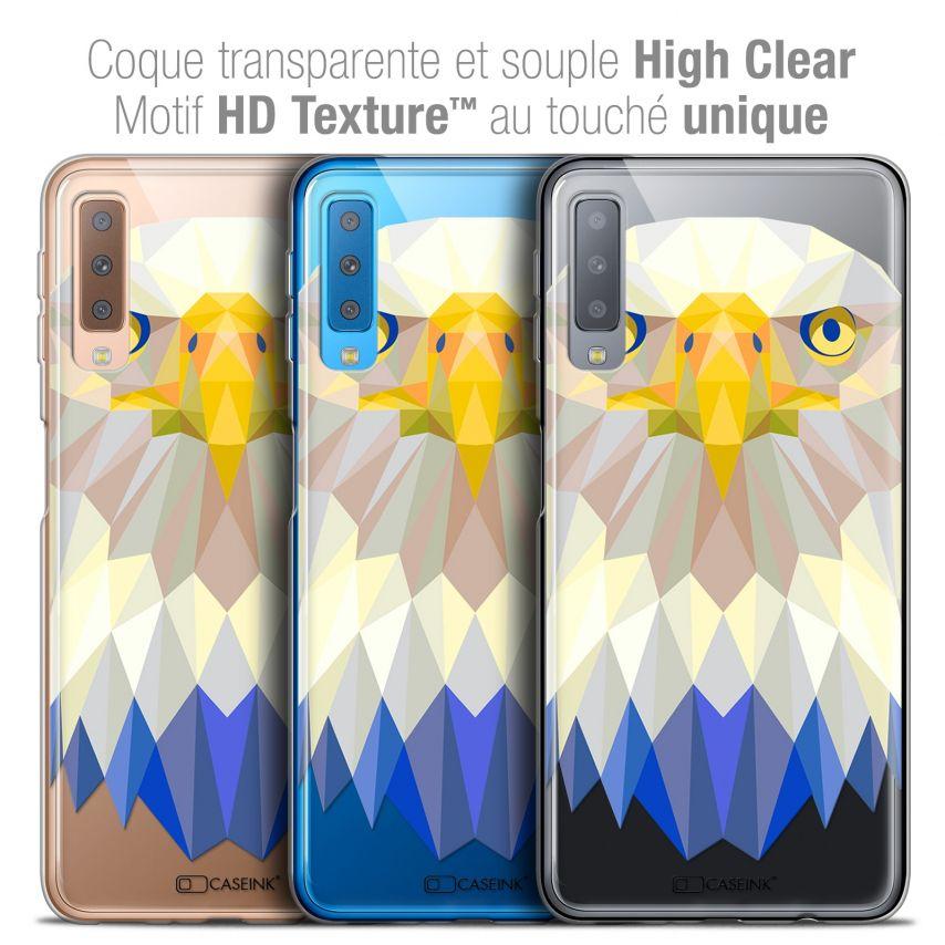 """Coque Crystal Gel Samsung Galaxy A7 (2018) A750 (6"""") Extra Fine Polygon Animals - Aigle"""
