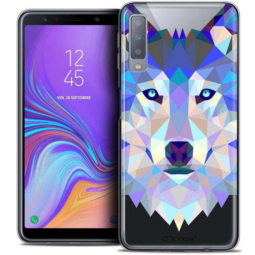 """Coque Crystal Gel Samsung Galaxy A7 (2018) A750 (6"""") Extra Fine Polygon Animals - Loup"""