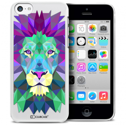 Coque Crystal iPhone 5C Extra Fine Polygon Animals - Lion