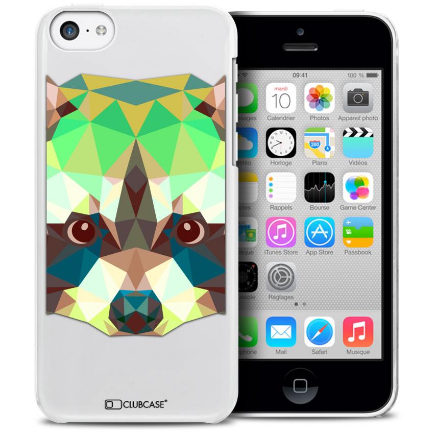 Vue détaillée de Coque Crystal iPhone 5C Extra Fine Polygon Animals - Raton Laveur