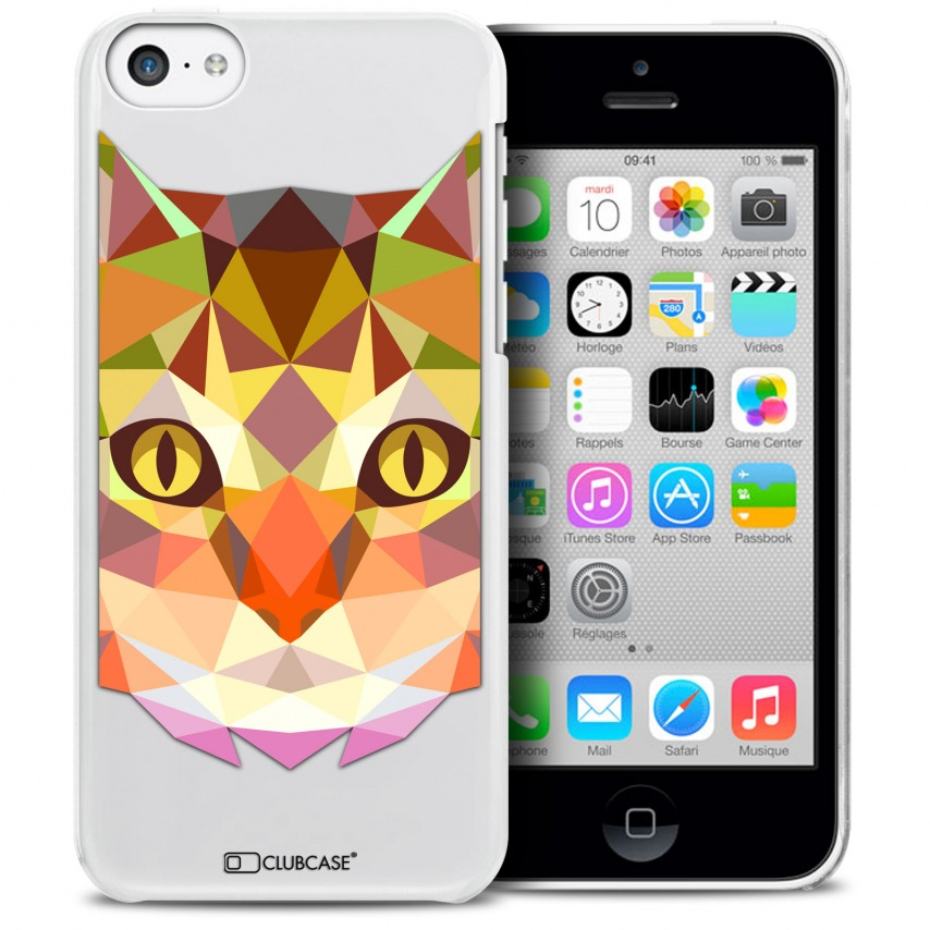 Vue détaillée de Coque Crystal iPhone 5C Extra Fine Polygon Animals - Chat