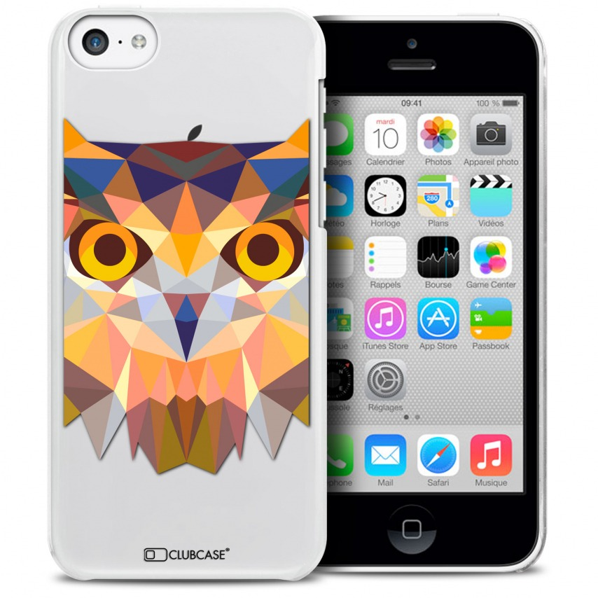 Vue détaillée de Coque Crystal iPhone 5C Extra Fine Polygon Animals - Hibou