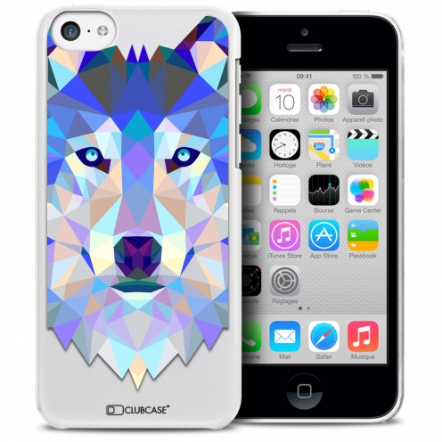 Coque Crystal iPhone 5C Extra Fine Polygon Animals - Loup