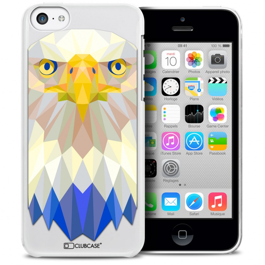 Vue détaillée de Coque Crystal iPhone 5C Extra Fine Polygon Animals - Aigle