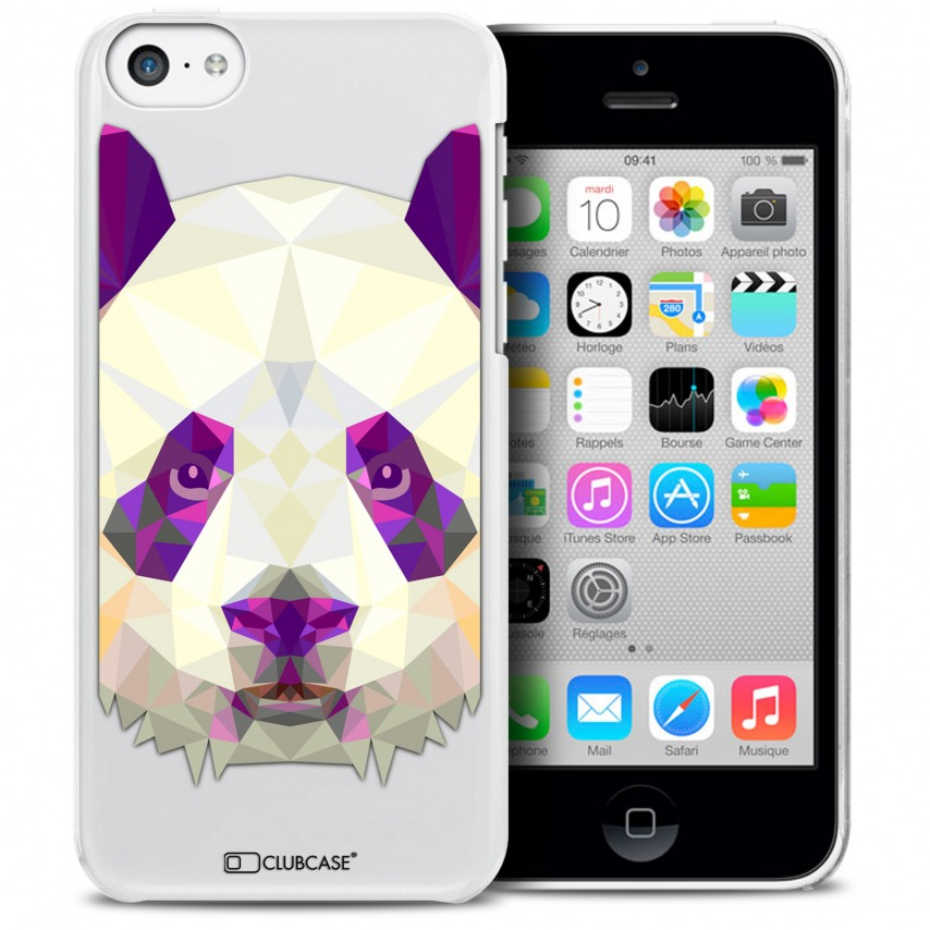 Vue détaillée de Coque Crystal iPhone 5C Extra Fine Polygon Animals - Panda