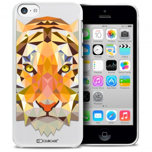 Coque Crystal iPhone 5C Extra Fine Polygon Animals - Tigre