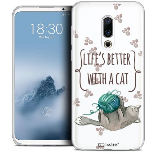 """Coque Crystal Gel Meizu 16 (6"""") Extra Fine Quote - Life's Better With a Cat"""