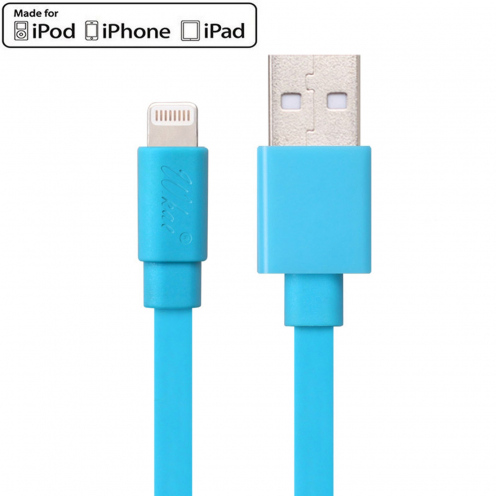 Câble USB à Lightning 8 Pins 1m Wkae® Certifié MFI - iPhone 6/6 Plus/5/S/C - Bleu