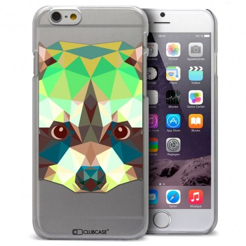 Coque Crystal iPhone 6 Plus Extra Fine Polygon Animals - Raton Laveur