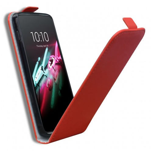 Zoom sur Coque Flexi Flip Vertical Alcatel OneTouch Idol 3 (5.5) Cuirette Eco Rouge