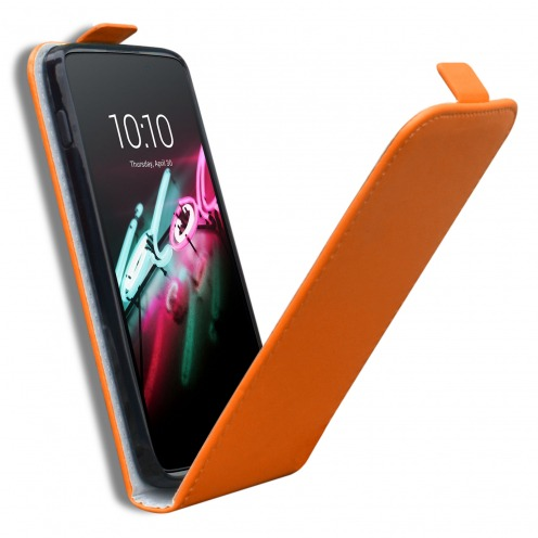 Zoom sur Coque Flexi Flip Vertical Alcatel OneTouch Idol 3 (5.5) Cuirette Eco Orange