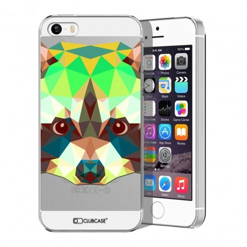 Zoom sur Coque Crystal iPhone 5/5S Extra Fine Polygon Animals - Raton Laveur