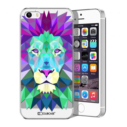 Zoom sur Coque Crystal iPhone 5/5S Extra Fine Polygon Animals - Lion