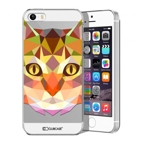 Zoom sur Coque Crystal iPhone 5/5S Extra Fine Polygon Animals - Chat
