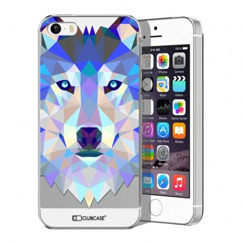 Zoom sur Coque Crystal iPhone 5/5S Extra Fine Polygon Animals - Loup