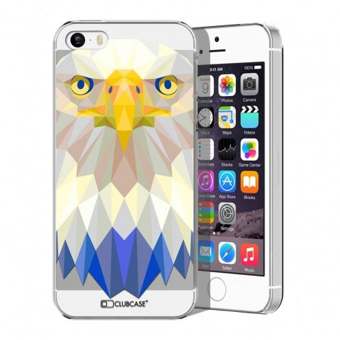 Zoom sur Coque Crystal iPhone 5/5S Extra Fine Polygon Animals - Aigle