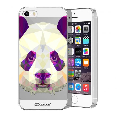 Zoom sur Coque Crystal iPhone 5/5S Extra Fine Polygon Animals - Panda