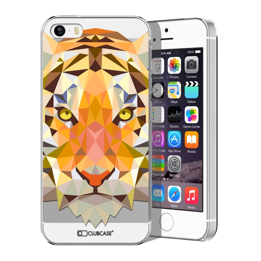 Zoom sur Coque Crystal iPhone 5/5S Extra Fine Polygon Animals - Tigre
