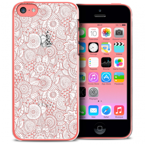Coque Crystal iPhone 5C Extra Fine Texture Dentelle Florale - Blanche