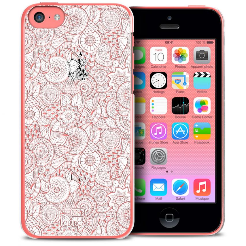 Visuel unique de Coque Crystal iPhone 5C Extra Fine Texture Dentelle Florale - Blanche