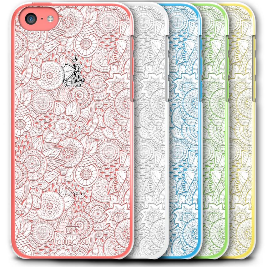 Vue complémentaire de Coque Crystal iPhone 5C Extra Fine Texture Dentelle Florale - Blanche