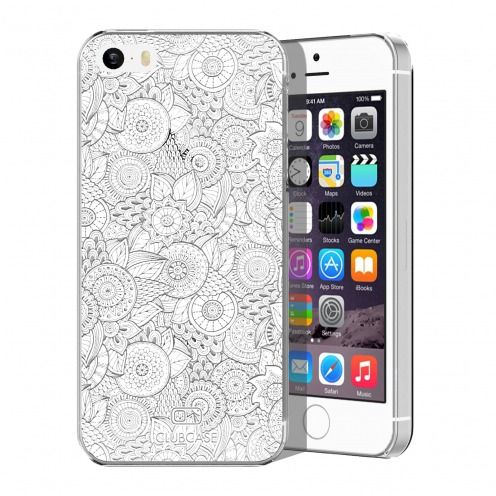Zoom sur Coque Crystal iPhone 5/5S Extra Fine Texture Dentelle Florale - Blanche