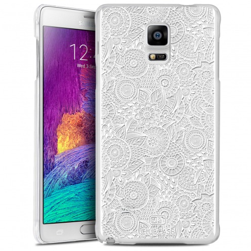 Coque Crystal Galaxy Note 4 Extra Fine Texture Dentelle Florale - Blanche