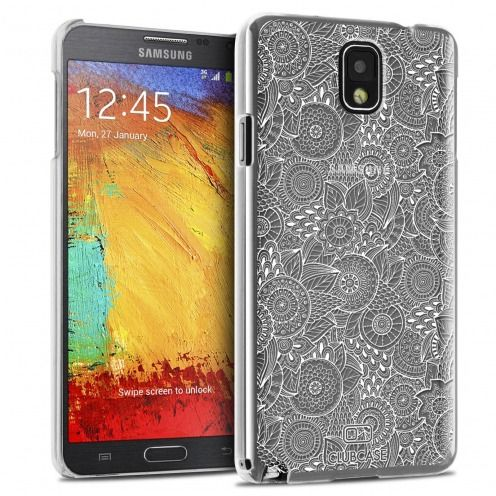 Coque Crystal Galaxy Note 3 Extra Fine Texture Dentelle Florale - Blanche