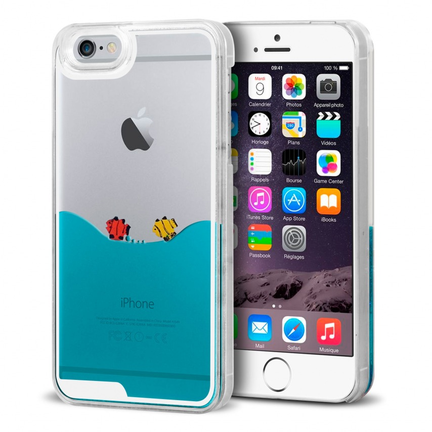 coque crystal liquid mer et poissons iphone 6. Black Bedroom Furniture Sets. Home Design Ideas