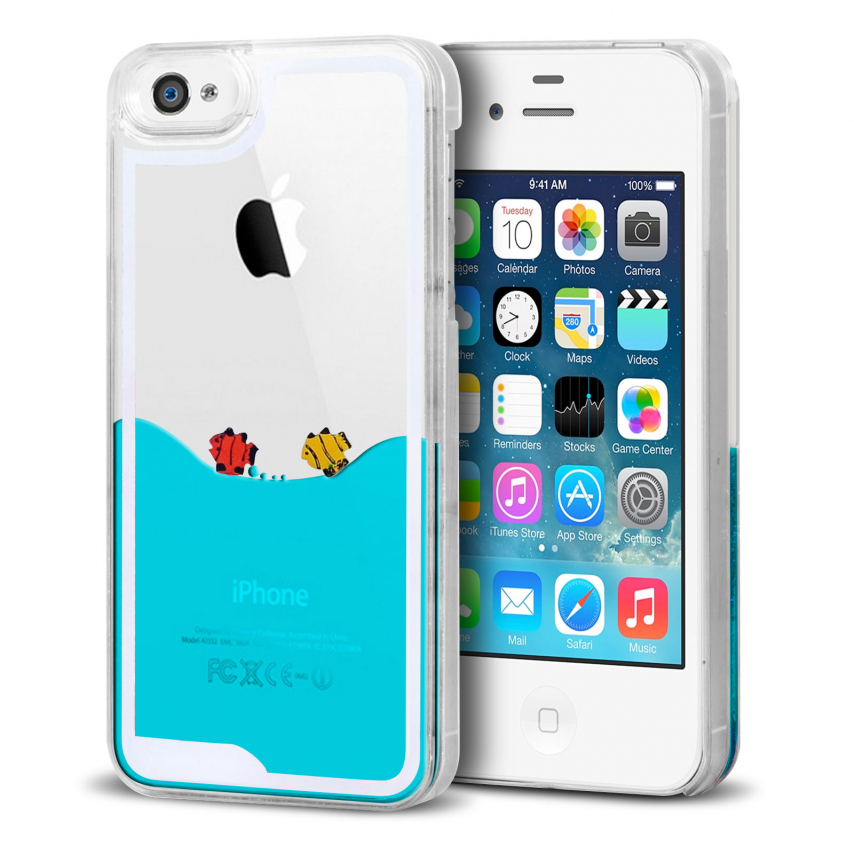 coque crystal liquid mer et poissons iphone 4 4s. Black Bedroom Furniture Sets. Home Design Ideas