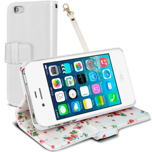 Housse Folio Stand iPhone 4S / 4 Country Florale Blanche
