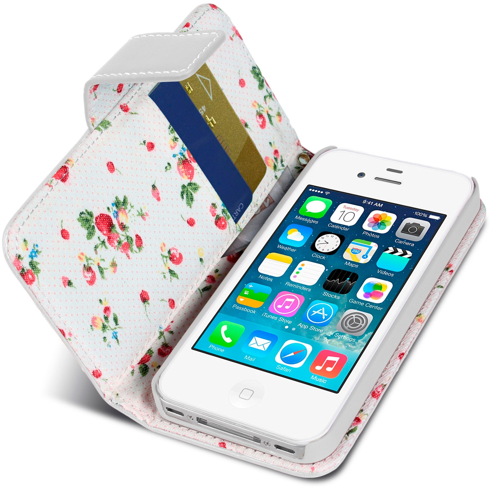 Housse folio stand iphone 4s 4 country florale blanche for Housse iphone 4s