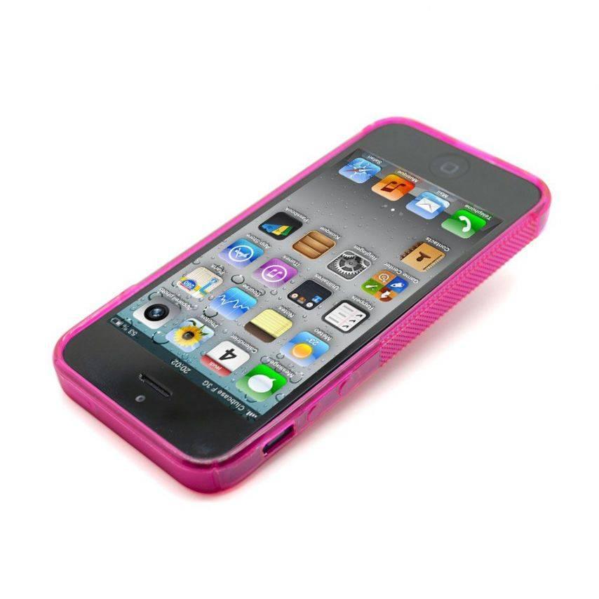 Vue complémentaire de Coque iPhone 5 Tpu Basics SLine Rose Fushia