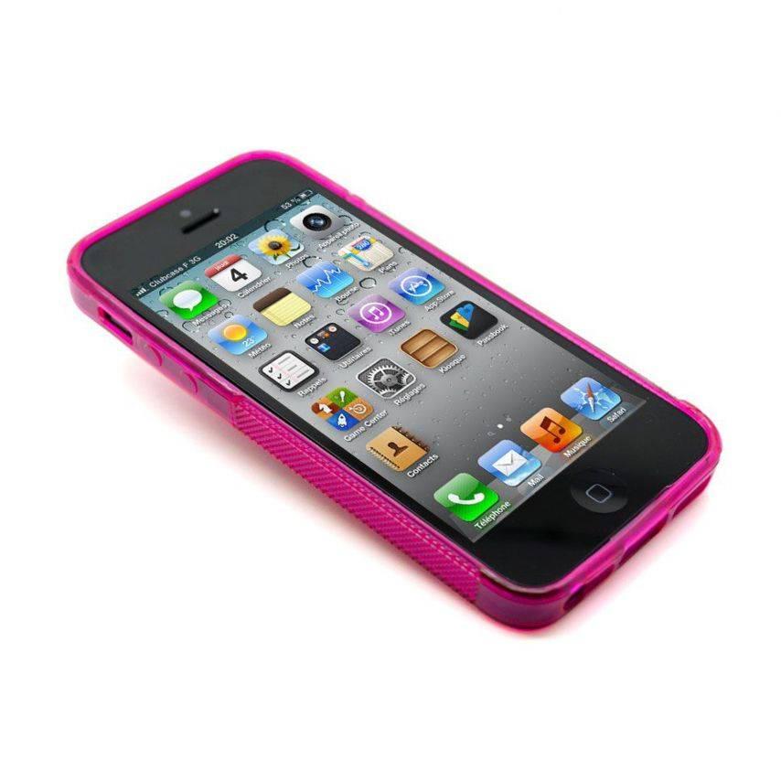 Photo réelle de Coque iPhone 5 Tpu Basics SLine Rose Fushia